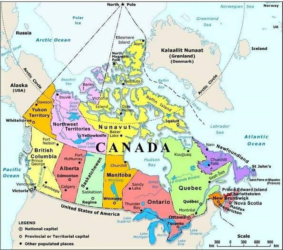 خريطة كندا في العالم و حدود ثاني أكبر دولة في العالم أخبار كندا Cn24