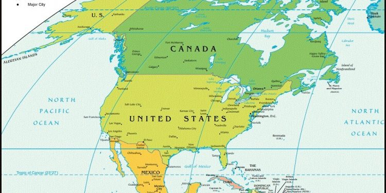 خريطة امريكا الشمالية تعرف على دول ثالث أكبر قارات العالم