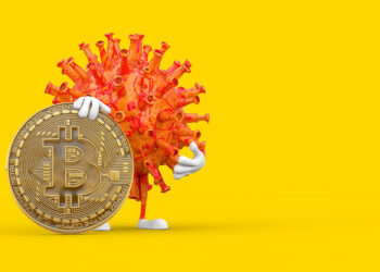 Cartoon Coronavirus COVID-19 Virus Mascot Person Character with Digital and Cryptocurrency Golden Bitcoin Coin on a yellow background. 3d Rendering